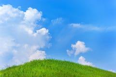 Trawy wzgórze z niebieskim niebem fotografia stock