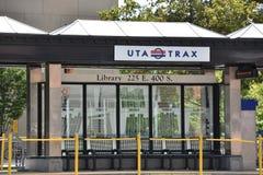 TRAX, sistema ferroviário da luz do ` s da autoridade do transporte de Utá, em Salt Lake City do centro fotos de stock