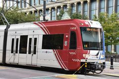 TRAX, sistema ferroviario della luce del ` s di autorità di trasporto dell'Utah, a Salt Lake City del centro fotografia stock libera da diritti