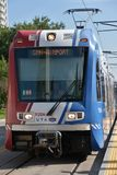 TRAX, sistema ferroviario della luce del ` s di autorità di trasporto dell'Utah, a Salt Lake City del centro immagine stock libera da diritti