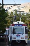 TRAX, sistema ferroviario della luce del ` s di autorità di trasporto dell'Utah, a Salt Lake City del centro fotografie stock libere da diritti