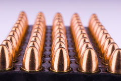 Tray with 9 mm cartridges Royalty Free Stock Image