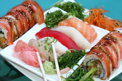 Tray with assorted sushi Royalty Free Stock Photography