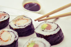 Tray with an assortment of makizushi Stock Photography