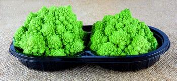 Tray of baby Romanesco broccoli Royalty Free Stock Photos