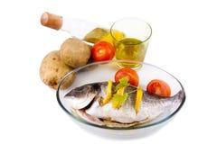 Tray of baked fish Royalty Free Stock Image