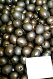 A tray  black-green olives Royalty Free Stock Photography
