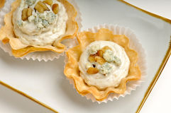 Tray of blue cheese and walnut Royalty Free Stock Photos