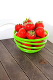 Tray with bowl of fresh strawberries Royalty Free Stock Photos