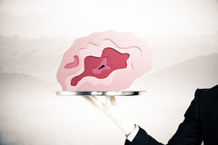 Tray with brain on misty background. Hand in glove holding abstract brain placed on silver tray on misty background. Brainstorming concept. 3D Rendering Royalty Free Stock Images