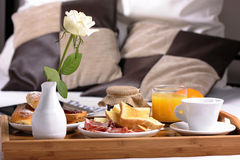 Tray with breakfast Royalty Free Stock Photo