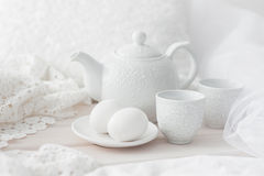 Tray with breakfast on a bed Stock Images