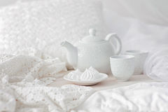 Tray with breakfast on a bed Stock Photography