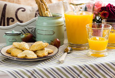 Tray with breakfast food Stock Photography