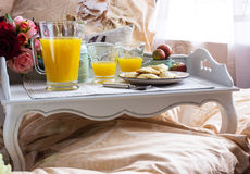 Tray with breakfast food Stock Photo