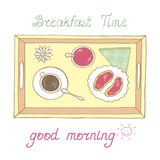 Tray with breakfast Royalty Free Stock Images