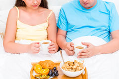 Tray with breakfast for young couples Stock Image