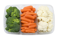 Tray with broccoli,carrots and cauliflower Stock Photography