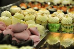 Tray of cakes and sweets in a pastry shop stock image