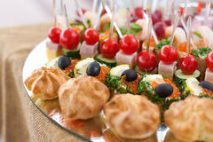 Tray with canape Royalty Free Stock Image