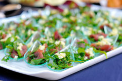 Tray with canapes finger food Royalty Free Stock Images