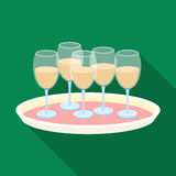 Tray with champagne glasses icon in flat style isolated on white background. Event service symbol stock vector. Tray with champagne glasses icon in flat style Stock Image
