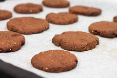 Tray of chocolate cacao chia seed cookies stacked on white parch. Tray of stacked chocolate cacao chia seed cookies stacked on white parchment paper close-up Stock Images