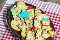 Tray of Christmas cookies Stock Images