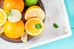 Tray with citrus fruits Royalty Free Stock Photos
