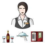 A tray with a cloth, check and cash, a bottle of wine and glasses, a waitress with a badge. Restaurant set collection Stock Images