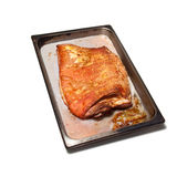 Tray of cooked belly pork Stock Images