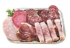 Tray of cooked meats stock images