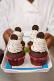 Tray of cookies and cream cupcakes Stock Image