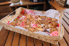 Tray with cookies in form of heart Royalty Free Stock Photo