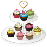 A tray with cupcakes Stock Photos
