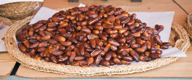 Tray of dates in the market Royalty Free Stock Image