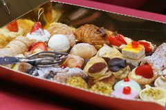 Tray of delicious pastries closeup royalty free stock photos