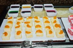 Tray of desserts in buffet Royalty Free Stock Photography