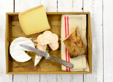 Tray different french cheeses with bread Stock Photos