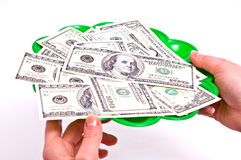 Tray and dollars Stock Images