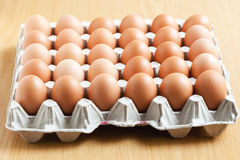 Tray of eggs in packaging. Tray of thirty eggs in a carton packaging Royalty Free Stock Photo