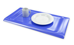 Tray with empty cap and plate isolated 3d model Royalty Free Stock Photos