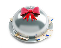 Tray euro money gift. On a white background Royalty Free Stock Photography