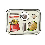 Tray with fast food, sketch for your design Royalty Free Stock Images