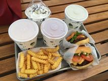 Tray of Fastfood. Burgers, fries, and shakes stock photo
