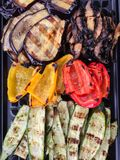 Tray filled with assorted grilled vegetables. royalty free stock photo