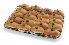 Tray filled of sandwiches Royalty Free Stock Photography