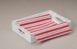 Tray With Folded Napkin On Natural Linen Stock Image