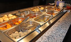Tray with food inside the self service Chinese restaurant Royalty Free Stock Images