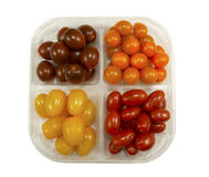Tray with four variety of fresh tasty mini greenhouse tomatoes Royalty Free Stock Photography